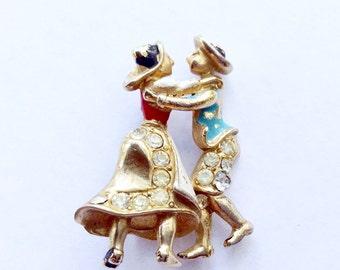 Rare Coro 1940's Dancing Couple Rhinestone Figural Brooch Antique Collectible Vintage Jewelry