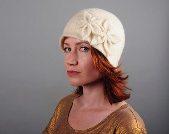 Double Flower Cloche - Ivory White - 100% Merino Felted Wool Winter Hat with Flower Appliqué - Bridal, Wedding