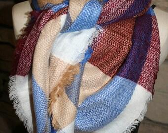 Plaid Tartan Blanket Scarf Royal Blue and Maroon Plaid Scarf Scarves Zara Style Plaid Bloggers Favorite-Monogram Avail-Womans Accessories