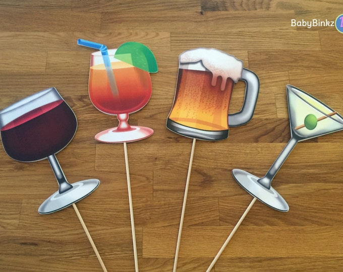 Photo Props: The Cocktail Emoji Set (4 Pieces) - party wedding birthday social media iPhone app icon centerpiece martini wine beer hurricane