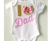 Fathers Day New Dad Baby Bodysuit I 'heart' Dad Baby New Dad Pinks and Gold