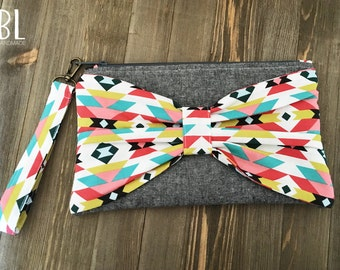 Aztec Inspired Fabric Bow Pouch - Clutch Wristlet - Cotton - Handmade Zipper Pouch - Modern Handbag - Bridesmaid Clutch - Travel Bag