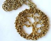 Tree of Life Pendant Necklace Vintage 1970s Estate Jewelry