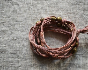 Kanae Wrap Bracelet in Rose Pink. Textile Jewelry. Layering Necklace. Textile Necklace. Fiber Necklace. One of a Kind Jewelry. Yoga Jewelry.