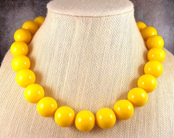 Statement Necklace, Yellow, Big Necklace, Beaded, Round Bead Necklace, Big Bead Necklace, Statement, Chunky Necklace, Yellow Bead Necklace