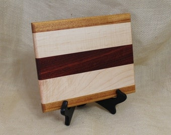 Cheese / Sushi Board Striped with Hardwoods Paduak, Maple and Canary Wood