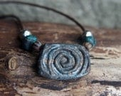 "Rustic brown and teal boho leather and stone wear necklace - Urban tribal spiral necklace 18"" length"