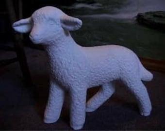 Large Lamb, Garden Lamb,Garden Ornament,Farm Animal,Garden Ornament,Yard Statue,Yard Ornament,ceramic bisque, u-paint,ready to paint