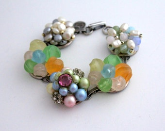 Spring Bracelet, Pearl Bracelet, Recycled Bracelet, Pastel Wedding, Upcycled Recycled Repurposed Jewelry, Pastel Jewelry, Mothers Day
