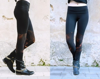 Goth Leggings, Black Leggings, Women Yoga Leggings, Rocker Leggings, Hand Bleach Dyed Leggings