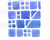 Original brick pattern painting on paper. Small abstract watercolor wall art in blue tones.