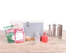 Vintage Boy Scout Preparedness Kit / Coleman Kerosene Lantern / Green Antique Kerosene Lantern / Kerosene Lamp Rustic Lantern / Camping Gear