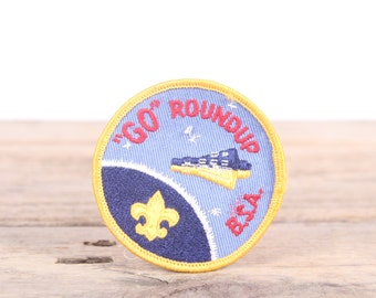 """Vintage 1960's """"GO"""" Roundup Boy Scout Patch / Space BSA Patch / Scouts Patch / Scout Badge / Alabama Patch / Boy Scouts of America"""