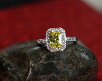 Yellow Sapphire Engagement Ring Kotys Antique Filigree Emerald & Diamonds Halo 2ct 8x6mm Custom White-Yellow-Rose Gold-10k-14k-18k-Platinum