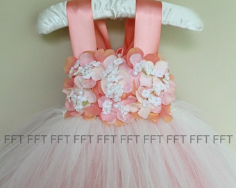 Coral and Ivory Flower Girl Tutu Dress