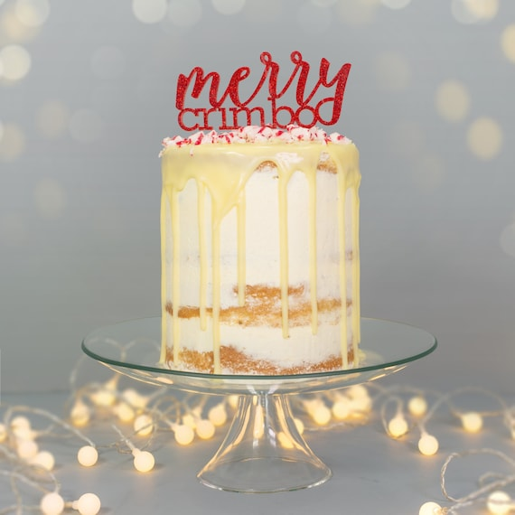 Etsy Christmas Cake Decorations : Items similar to Merry Crimbo Christmas Cake Topper ...