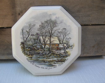 Vintage Currier & Ives, Winter in the Country The Old Grist Mill, Wall Plaque, Wall Art, Winter Decor, Ceramic, Winter MyVintageTable