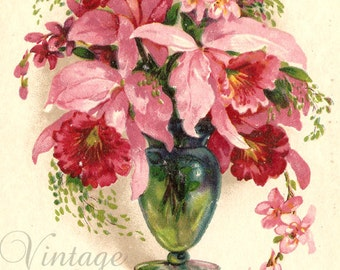Pink Orchids in Green Glass Vase Antique Chromo French Postcard from Vintage Paper Attic