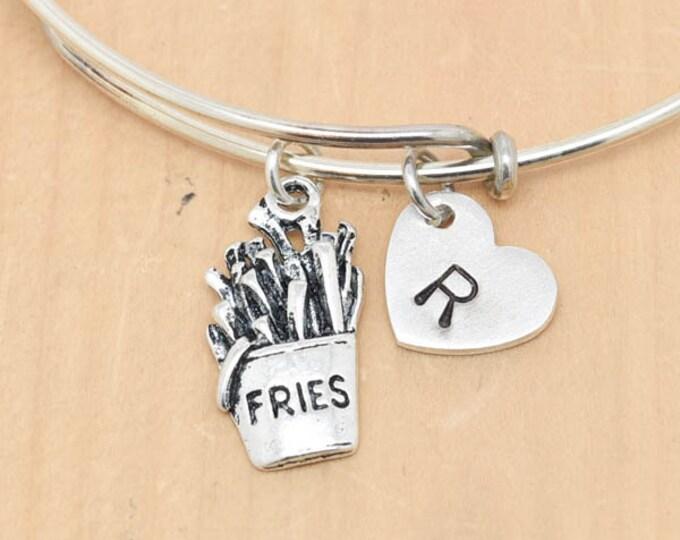 Fries Bangle, Sterling Silver Bangle, Fries Bracelet, Bridesmaid Gift, Personalized Bracelet, Charm Bangle, Initial Bracelet, Monogram