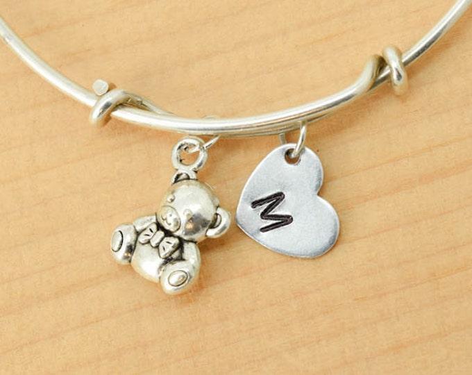 Teddy Bear Bangle, Sterling Silver Bangle, Bear Bracelet, Bridesmaid Gift, Personalized Bracelet, Charm Bangle, Initial Bracelet, Monogram