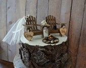 Country wedding chair wedding cake topper camping hunting fishing themed campfire bonfire rustic bride groom Adirondack chair lake house
