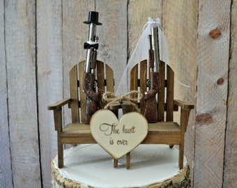 Shot gun hunting themed wedding cake topper groom's cake hunting groom deer duck hunter camouflage  The hunt is over wood sign bride groom