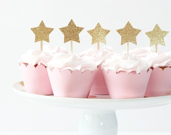 gold glitter star cupcake toppers girls first birthday party twinkle twinkle little star party pink and