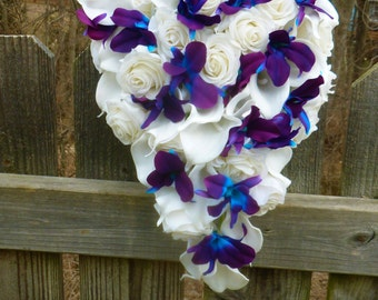 Cascading Ivory/white real touch rose, calla lily and purple blue dendrobium orchid bouquet, galaxy orchid bouquet