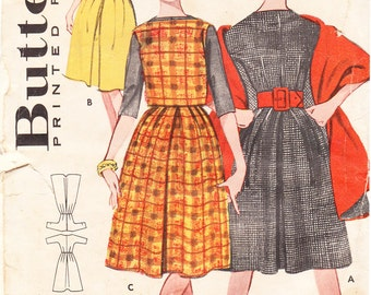 1960s Bouffant 3-Way Dress with Inverted Pleat and Optional Matching Overblouse for Misses - Vintage Butterick Sewing Pattern 9065 - Size 34
