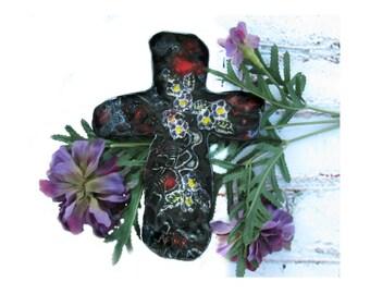 Cross for wall, ceramic cross, gift cross,  gift cross, Christian gift, clay cross, # 13