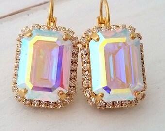 Aurora borealis drop earrings, White rainbow Swarovski rectangle drop earrings, Octagon emerald cut earring, Bridal earrings, Bridesmaids