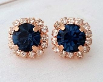 Rose gold Navy blue earrings,navy blue bridesmaid gifts,studs,Swarovski crystal stud earrings, Bridal earrings,navy blue stud earrings