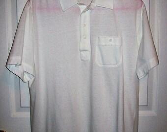 SALE 50% Off Vintage Mens White Golf Shirt by Par Four Large Now 3 USD