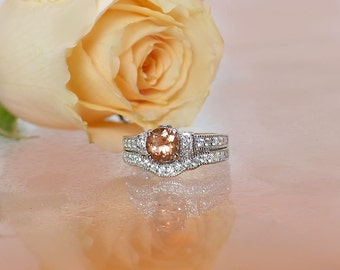 Spinel Ring, Spinel, Peach Gemstone Ring, Spinel Wedding Set, Peach Gemstone Wedding Set, Colored Gemstone Wedding Set, Natural Gemstone
