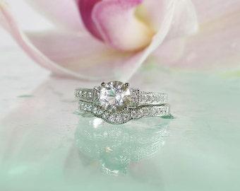Sterling Wedding Set, Gemstone Wedding Set, Unique Wedding Set, Herkimer Diamond Ring, Natural Gemstone, Diamond Alternative, Conflict Free