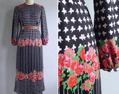 Vintage 70's 'Garden Party' Red Rose Houndstooth Print Op Art Maxi Dress M or L