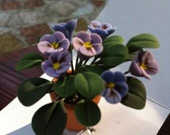 Miniature Pansies  in Terra Cotta Pot, Dollhouse Miniature