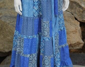 Blue Hippie Patchwork Skirt  Festival  Clothes Hippie Clothes Hippie Skirt Hippie Clothing Festival Clothing Patchwork Skirt Festival Skirt