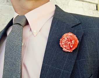Silk Jagged Rose Lapel Pin - Brights Collection - Tie Pin - Menswear - Accessories