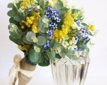 Brighton - Wedding bouquet. Australian native foliage and flowers.  Yellow wattle, blue & white wax and spinning gum foliage.