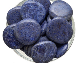 1 Large Blue DUMORTIERITE Palm Stone Healing Crystal and Stone Tumbled Calming Soothing Energy #DT01