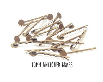 10 pieces - Antiqued Brass - Bobby Pins - 10mm - 2 inch length - Round Pad - Antique Bronze