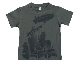 Youth and Toddler Tee - Cleveland 'The World Is Yours' on Charcoal Grey