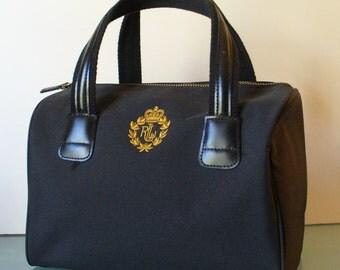 Ralph Lauren Black Fabric Boston Bag