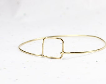Delicate Small Square Bangle - Minimalist Geometric Square Bracelet - Jeweler's Brass or Silver