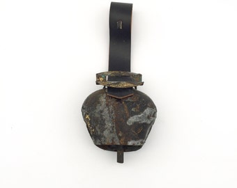 Antique Swiss Cowbell on Leather Strap, Rustic Black and Gold Patina