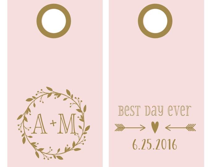 Custom Wedding Vinyl Decal Set for Cornhole | Best Day Ever Wedding | Corn Hole Decals for Wedding | Outdoor Wedding Decor