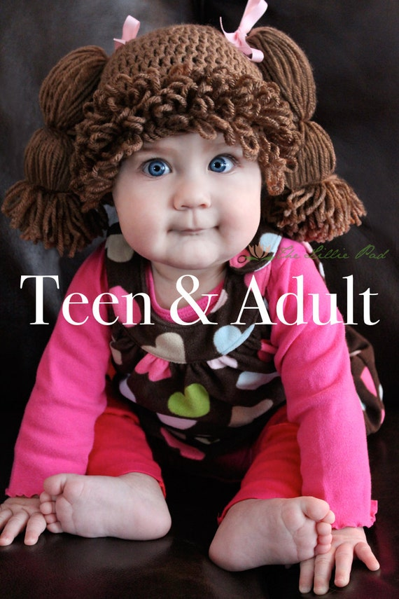 Cabbage patch kid inspired crochet hat wig adult by thelilliepad for Cabbage patch kids halloween