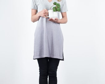 Ombre Organic cotton grey dress, V neck simple tunic, ombre grey eco dyed dress