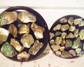 Abalone Schale Untersetzer Strand Küche Natürliche Harze, Die Runde Schwarz  Paar
